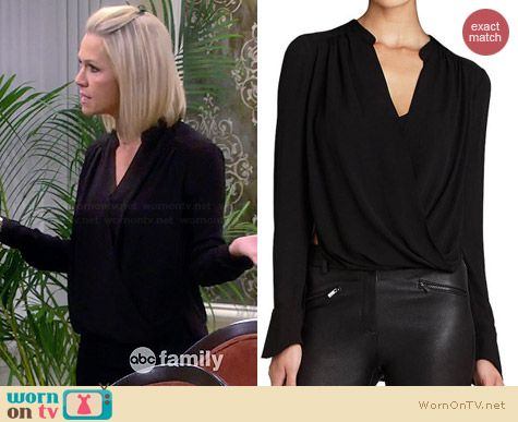 Bcbgmaxazria Jaklyn Draped Blouse worn by Jennie Garth on Mystery Girls