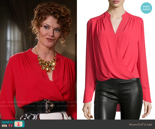 Bcbgmaxazria Jaklyn Blouse in Red worn by Rebecca Wisocky on Devious Maids