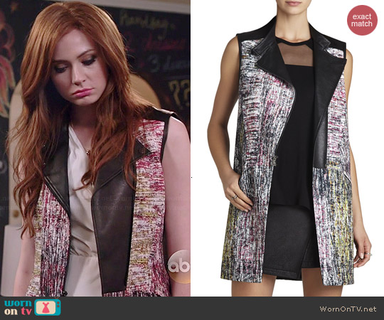 Bcbgmaxazria Julien Long Moto Vest worn by Karen Gillan on Selfie