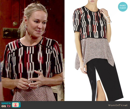 Bcbgmaxazria Kacy Print Block Layered Top worn by Sharon Case on The Young & the Restless