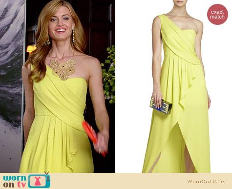 Bcbgmaxazria Kail Draped One Shoulder Gown worn by Brooke D'Orsay on Royal Pains