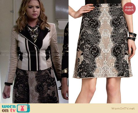 Bcbgmaxazria Karlie Relief Lace Jacquard Skirt worn by Ashley Benson
