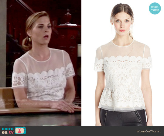 Bcbgmaxazria Kasandra Scalloped Burnout-Peplum Top worn by Gina Tognoni on The Young & the Restless