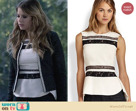 Bcbgmaxazria lace-trim split-back peplum top worn by Ashley Benson on Ravenswood