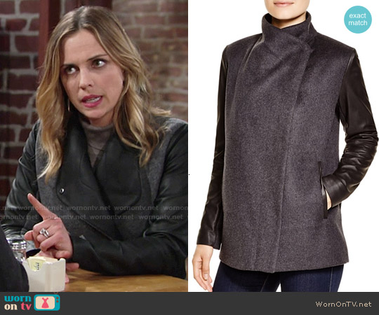Bcbgmaxazria Wool Coat with Leather Sleeves worn by Kelly Sullivan on The Young & the Restless