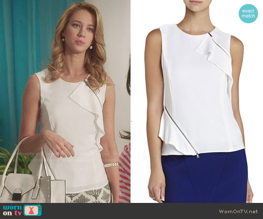Bcbgmaxazria 'Leslee' Zippered Ruffle Top worn by Yael Grobglas on Jane the Virgin