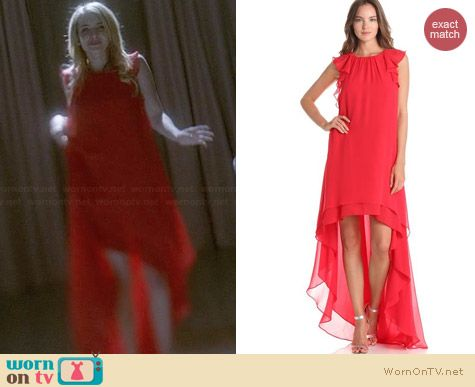 Bcbgmaxazria Fais High Low Halter Dress worn by Emma Roberts on AHS Coven