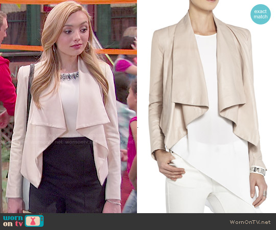 Bcbgmaxazria Lola Leather Jacket worn by Emma Ross on Bunkd
