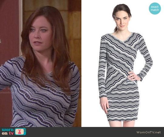 Bcbgmaxazria 'Melysa' Striped Lace Dress worn by Melissa Archer on Days of our Lives
