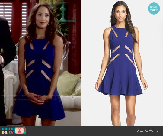 Bcbgmaxazria Mesh Cutout Skater Dress worn by Christel Khalil on The Young & the Restless
