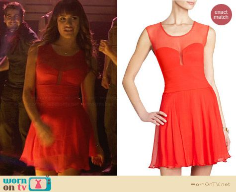 Bcbgmaxazria Miranda Dress in Red worn by Lea Michele on Glee
