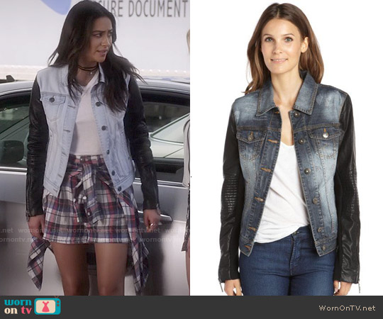 Bcbgmaxazria Nikki Denim and Leather Jacket worn by Emily Fields on PLL
