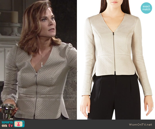 Bcbgmaxazria  'Pearson' Diamond Quilted Faux Leather Jacket worn by Gina Tognoni on The Young & the Restless