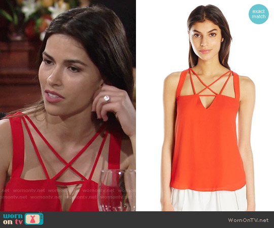Bcbgmaxazria Raelyn Top in Red worn by Sofia Pernas on The Young & the Restless