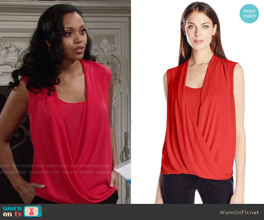 Bcbgmaxazria Raychel Blouse in Bright Poppy worn by Mishael Morgan on The Young & the Restless