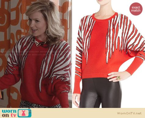Bcbgmaxazria red Camille Zebra Jacquard Sweater worn by Lindsey Gort on The Carrie Diaries