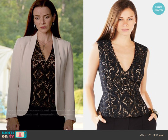 Bcbgmaxazria 'Rena' Appliqué Cotton Blend Peplum Top worn by Annie Wersching on The Vampire Diaries