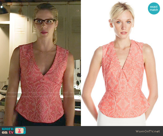 Bcbgmaxazria 'Rena' Top in Pink Coral worn by Emily Bett Rickards on Arrow
