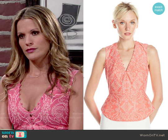 Bcbgmaxazria Rena Top in Pink Coral worn by Melissa Claire Egan on The Young & the Restless