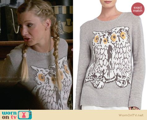 Bcbgmaxazria Rooney Owl Pullover worn by Heather Morris on Glee
