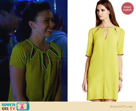 Bcbgmaxazria Rosetta Dress in Lemon Grass worn by Malese Jow on Star-Crossed