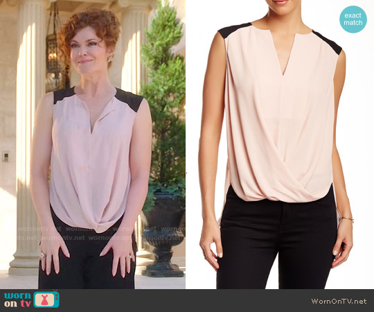 Bcbgmaxazria Sleeveless Faux Wrap Blouse worn by Rebecca Wisocky on Devious Maids