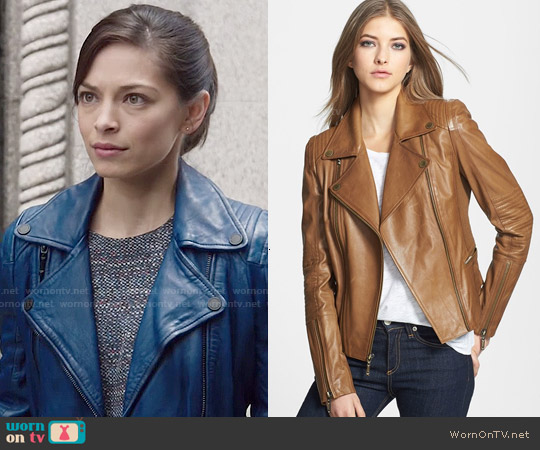 Bcbgmaxazria Tara Leather Moto Jacket worn by Kristin Kreuk on Beauty & the Beast
