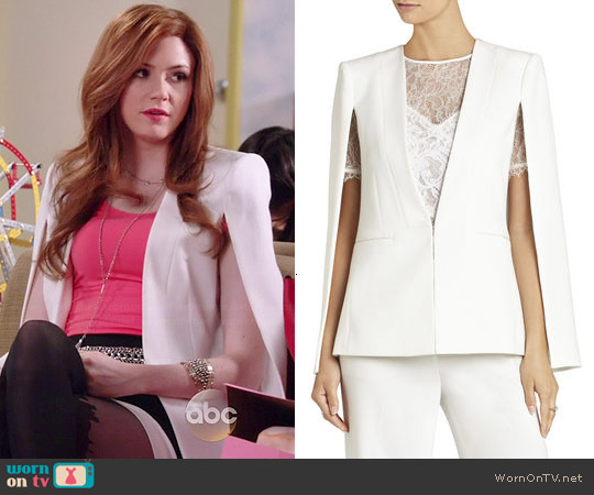 Bcbgmaxazria Upas Cape worn by Karen Gillan on Selfie