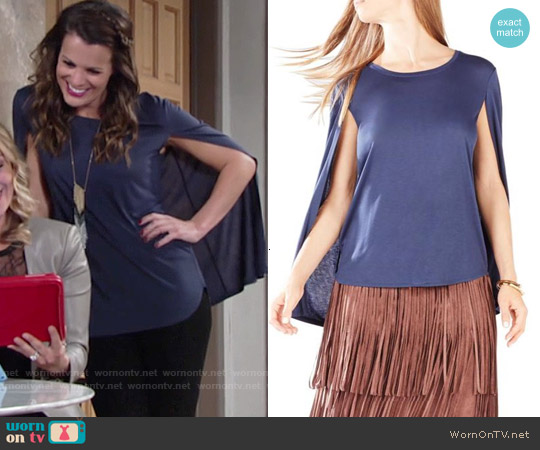 Bcbgmaxazria Vanessa Cape Top worn by Melissa Claire Egan on The Young & the Restless