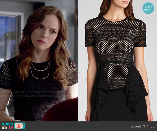 Bcbgmaxazria Viktoria Mixed Knit Peplum Top worn by Danielle Panabaker on The Flash