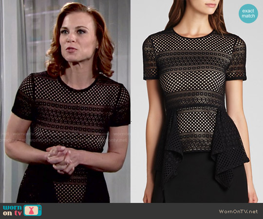 Bcbgmaxazria Vicktoria Mixed Knit Peplum Top worn by Gina Tognoni on The Young & the Restless
