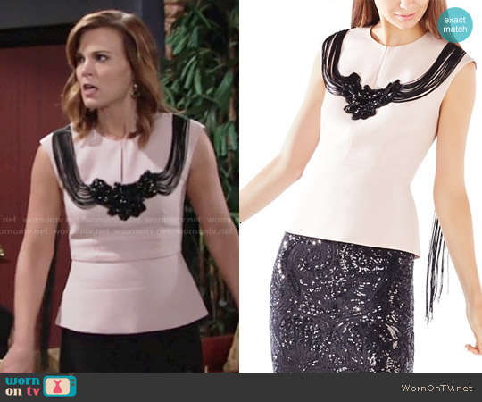 Bcbgmaxazria Virginie Fringe Embellished Top worn by Gina Tognoni on The Young & the Restless