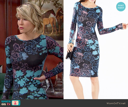 Bcbgmaxazria Voletta Dress in Black Combo worn by Linsey Godfrey on The Bold & the Beautiful