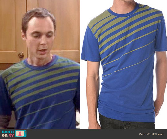BDG Angled Stripe Tee worn by Sheldon Cooper on The Big Bang Theory
