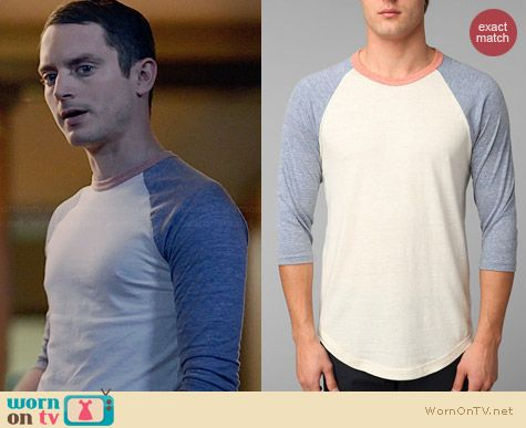 BDG Colorblock Tri-Blend Raglan Tee worn by Elijah Wood on Wilfred