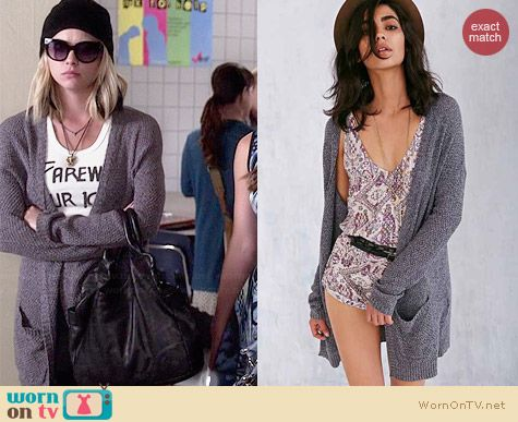 London Cardigan in Grey worn by Ashley Benson on PLL