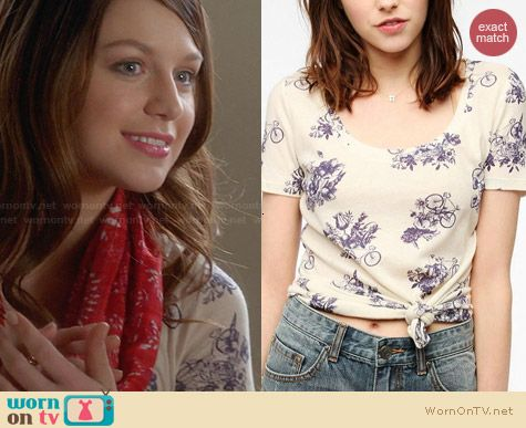 BDG Printed Scoopneck Tee worn by Melissa Benoist on Glee