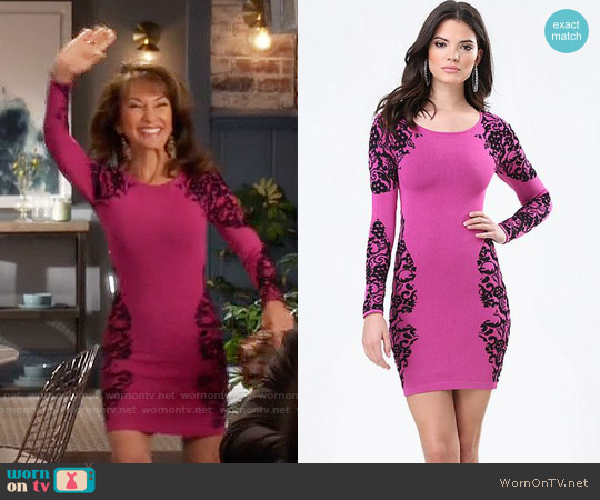 Bebe Jacquard Lace Sweater Dress worn by Susan Lucci on Devious Maids