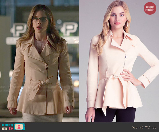 Bebe Peplum Detail Trench worn by Emily Bett Rickards on Arrow