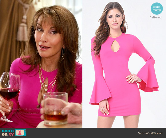 Bebe Bell Sleeve Bodycon Dress worn by Susan Lucci on Devious Maids