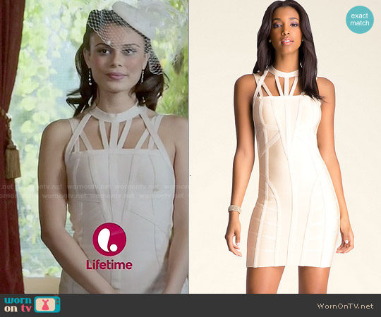 Bebe Cage Ottoman Dress worn by Nathalie Kelley on UnReal