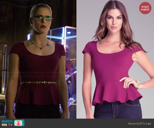 Bebe Cap Sleeve Peplum Top worn by Emily Bett Rickards on Arrow