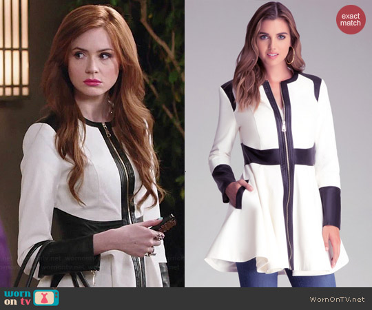 Bebe Colorblock Trench Coat worn by Karen Gillan on Selfie