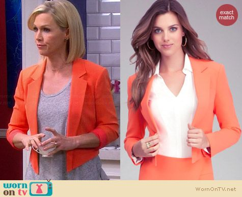 Bebe Debbie Crop Blazer in Coral worn by Jennie Garth on Mystery Girls