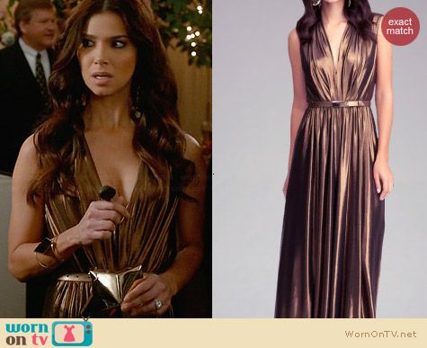 Bebe Deep V-Neck Maxi Dress in Gold worn by Roselyn Sanchez on Devious Maids