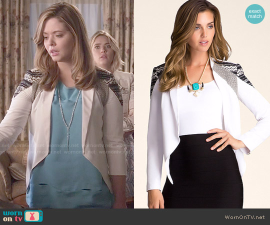Bebe Draped Front Blazer worn by Alison DiLaurentis on PLL