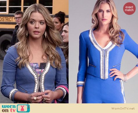 Bebe Embellished Collar Jacket worn by Sasha Pieterse on PLL