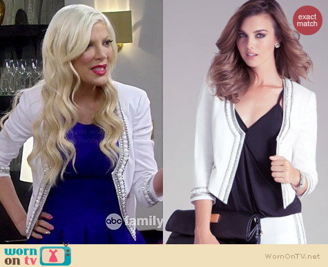 Bebe Embellished Collar Jacket worn by Tori Spelling on Mystery Girls