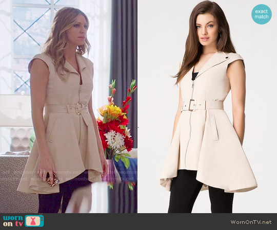 Bebe Etta Sleeveless Trench worn by Jes Macallan on Mistresses