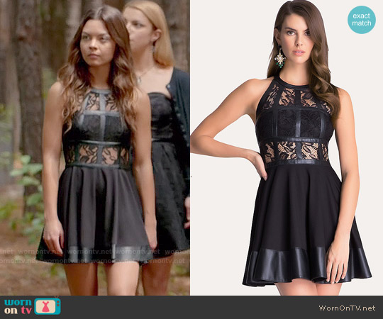 Bebe Fit and Flare T-strap Dress worn by Scarlett Byrne on The Vampire Diaries